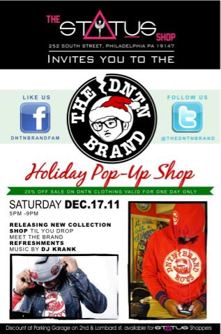 The #DNTN Holiday Collection #PopUp Shop At @StatusShop NEXT Saturday 12/17/11 From 5pm-9pm