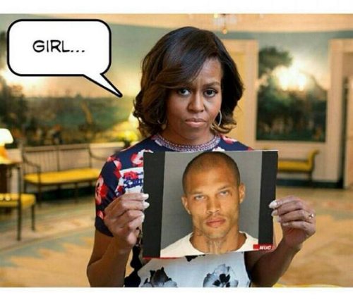 Jeremy Meeks photoshopped on Michelle Obama pic