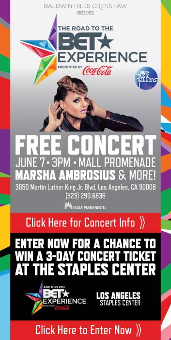 The BET Experience/Music Matters Presents: Marsha Ambrosius  June 7th 2pm Til 5pm At The Baldwin Hills Mall