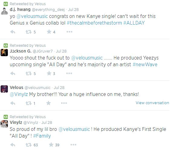 veloustweets Coke Boys Newest Signee, Velous Confirms He Is The Producer For Kanye Wests Upcoming All Day Single