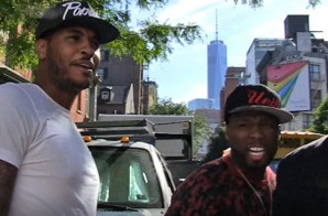 50 Cent Acts As Carmelo Anthony's Bodyguard In NYC (Video)