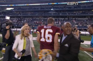 Who You Talking To?: Colt McCoy Gets Yanked From Postgame Interview After OT Win vs. Cowboys