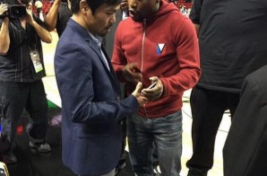 Floyd Mayweather & Manny Pacquiao Exchange Numbers At The Bucks vs. Heat Game In Miami (Photos)