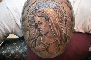 YG Gets Huge Virgin Mary Tattoo On His Head!