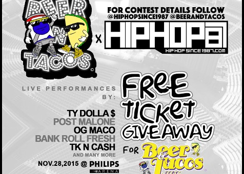 "Win Tickets To See Ty Dolla $ign, Post Malone, OG Maco, Bankroll Fresh & More Perform Live In Atlanta at the ""Beer & Tacos Thanksgiving Reunion (November 28th)"